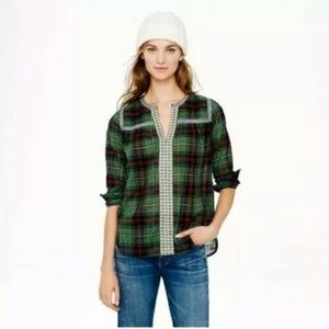 J Crew Embroidered Green Plaid Popover Blouse 10